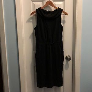 J Crew black wool knit wiggle dress with POCKETS!